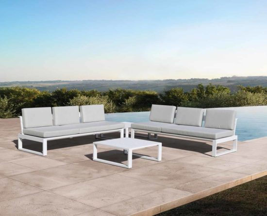 Elera - Salon de jardin en aluminium epoxy blanc
