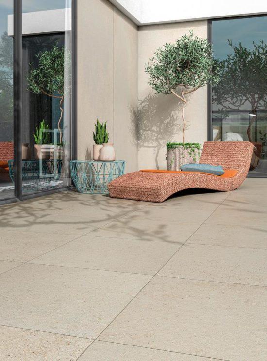 Context Square - Carrelage effet pierre naturelle 60x60 cm au sol et 120x260 cm aux murs