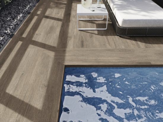 Alabama Quercia - Margelles de piscine droites en effet bois naturel