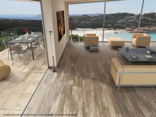 Amarcord Sabbia - Carrelage imitation ciment associé à un carrelage imitation bois vieilli