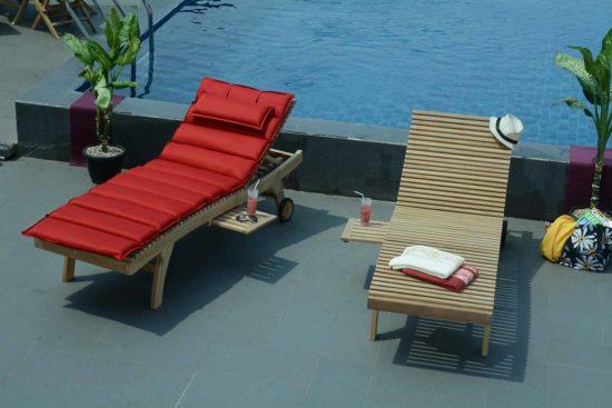 Palawan - Chaise longue en teck massif avec tablette
