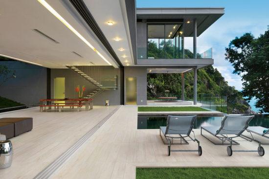 Etic Rovere Blanco - Carrelage imitation bois pour l'extérieur à l'aspect brut de sciage