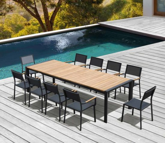 Léda - Table extensible et chaises en aluminium anthracite et teck massif