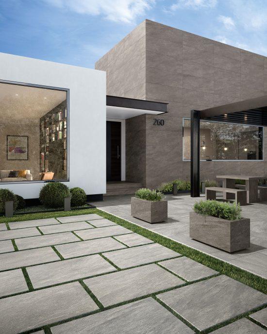 Norgestone Light Grey - Carrelage forte épaisseur imitant la pierre grise. Grandes dalles posées au sol