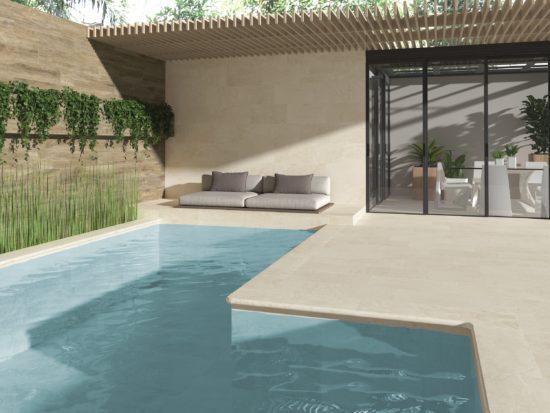Carrelage extérieur imitation pierre naturelle et margelles de piscine arrondies