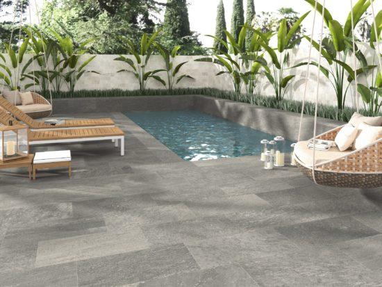 Oxford Slate - Carrelage en grès cérame imitation pierre grise pour extérieur