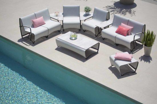 Jetstream - Salon de jardin en aluminium gris, HPL céramique blanche et Batyline blanc