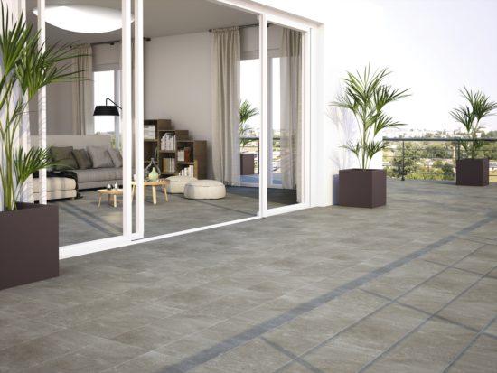 Style Carmen - Carrelage gris en grès cérame effet béton brut pour un aspect industriel