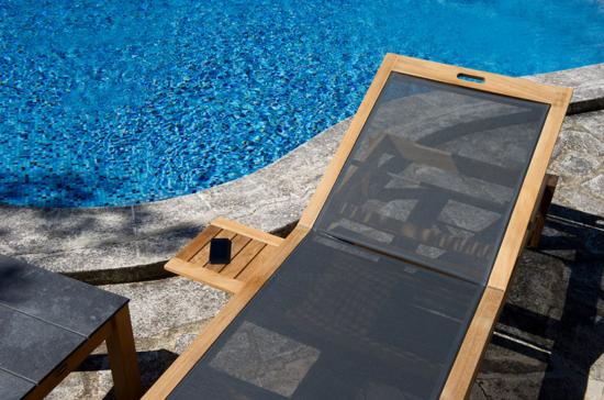 Valteck - Bain de soleil avec structure en teck et assise en toile Batyline