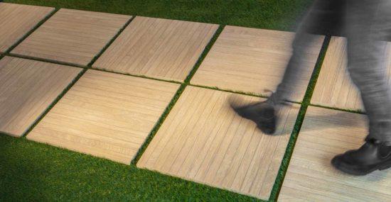 Noa - Carrelage extérieur en grés cérame coloré dans la masse imitation bois 60x60