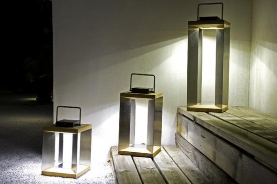 Teckinox - Lampe solaire en teck et inox à poser