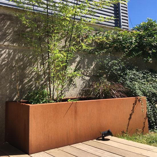 Bac en acier corten pour plantes et arbustes