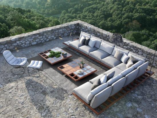 Mozaix - Salon de jardin modulable avec base en teck