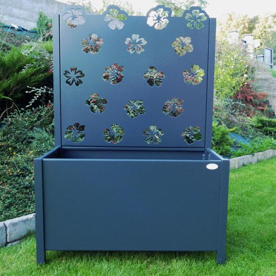 Hibiscus - Jardinière métallique avec motif fleuri