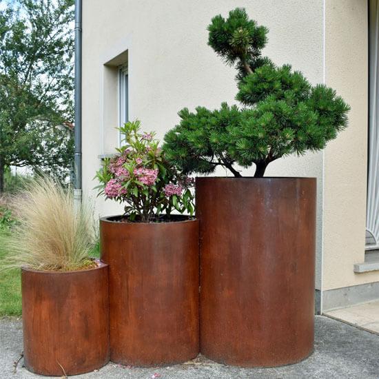 Trio pots de fleurs en acier corten